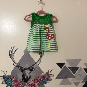 Kids Headquarters | Green dress with Pink Flamingo